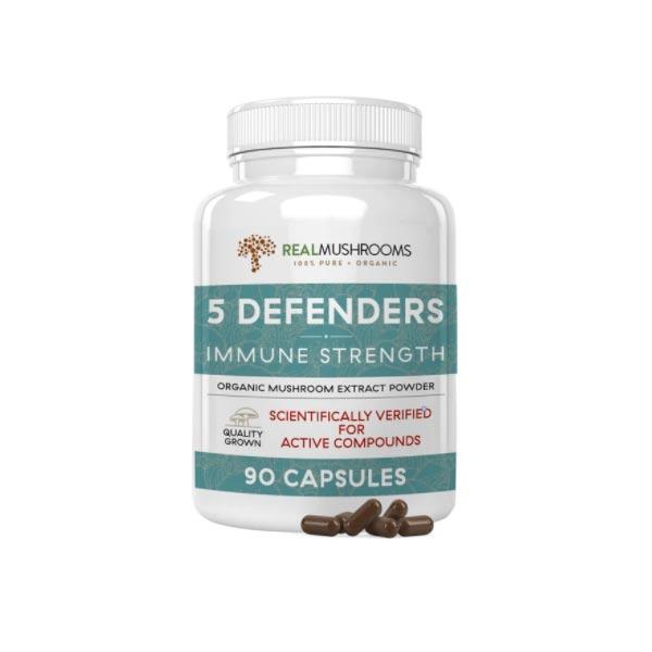 Real Mushrooms 5 Defenders Organic Mushroom Blend Capsules